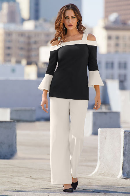Beyond Travel™ Flare Sleeve Color-Block Top image