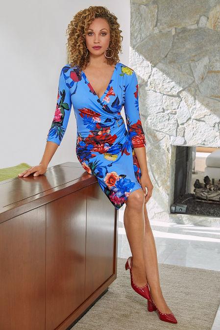 Floral Print Faux-Wrap Dress image