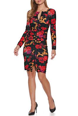 Long Sleeve Zipper Front Floral Dress