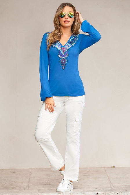 Embroidered V-Neck Long-Sleeve Top image