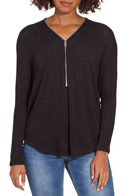 half zip relaxed long-sleeve top