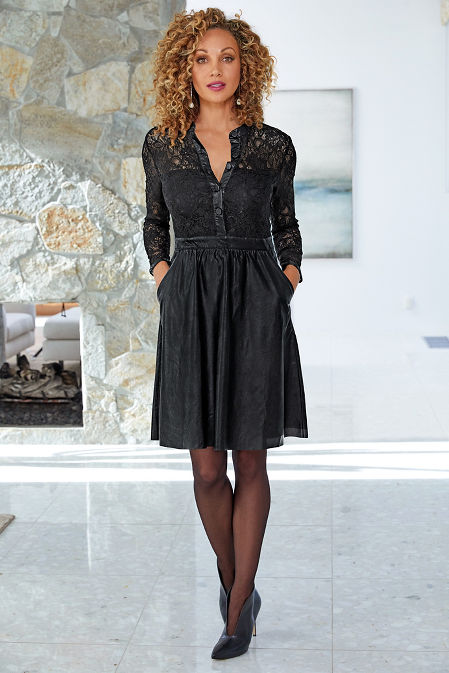Lace and Vegan Leather Dress image