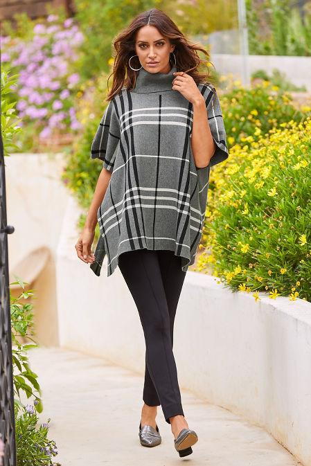 Plaid Turtleneck Poncho Sweater image