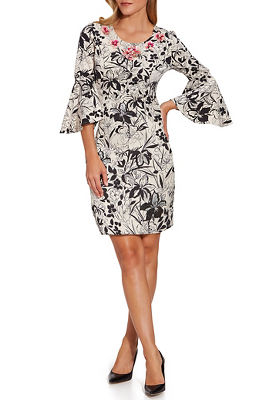 printed flare sleeve embroidered dress