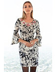 Printed Flare Sleeve Embroidered Dress Photo