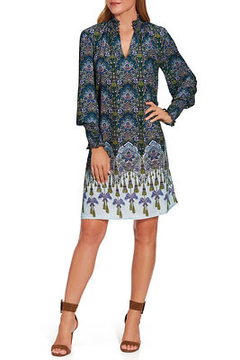 Smock Neck Long-Sleeve Printed Shift Dress