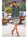 Smock Neck Long-sleeve Printed Shift Dress Photo