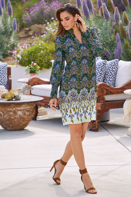 Smock Neck Long-Sleeve Printed Shift Dress image