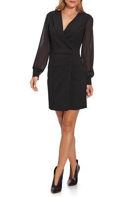 tuxedo chiffon-sleeve dress