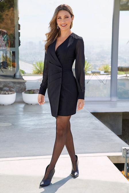 Tuxedo Chiffon-Sleeve Dress image