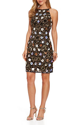 Sleeveless Flower-Embellished Dress
