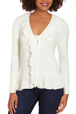 Ruffle Button-Down Long-Sleeve Top