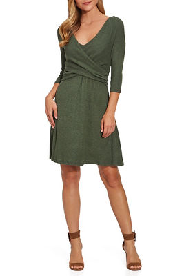 So Soft Ribbed Surplice Dress