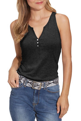 Embellished Button Henley Tank Top