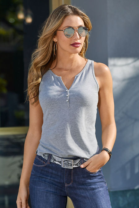 Embellished Button Henley Tank Top image