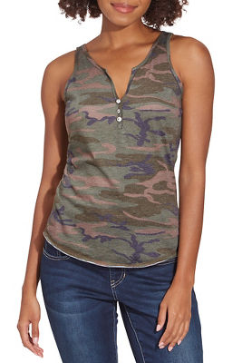 Embellished Camo Button Henley Tank Top