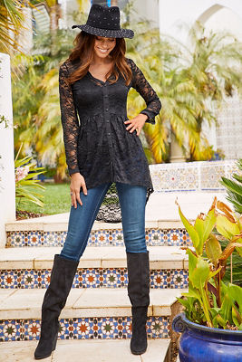 Lace Button-Down Tunic Top