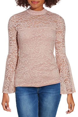 Lace Mock Neck Long-Sleeve Top