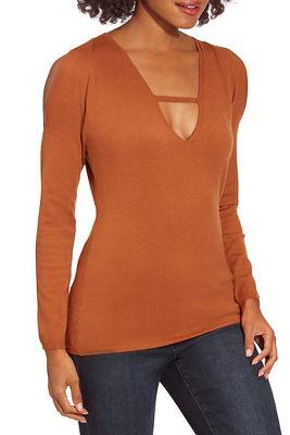 V-Neck Bar-Strap Sweater