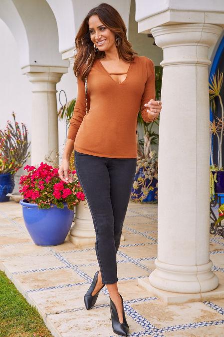 V-Neck Bar-Strap Sweater image