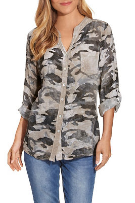 Camo Sequin Button-Down Shirt