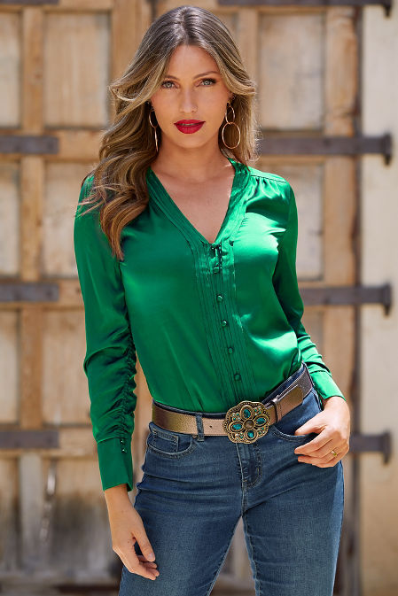 Covered Button Charm Blouse image