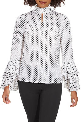Dot Ruffle-Sleeve Blouse