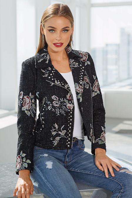 Embroidered Studded Tweed Moto Jacket image