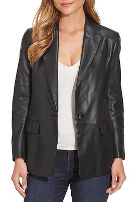 Leather Single-Button Blazer