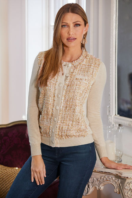 Tweed Front Button Cardigan image