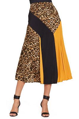 color block pleated midi skirt