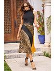 Color Block Pleated Midi Skirt Photo