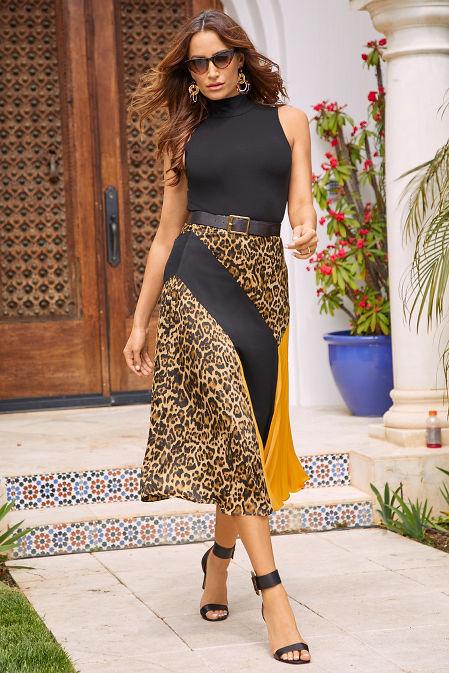 Color Block Pleated Midi Skirt image