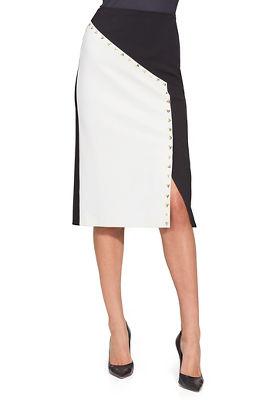Color block studded ponté skirt