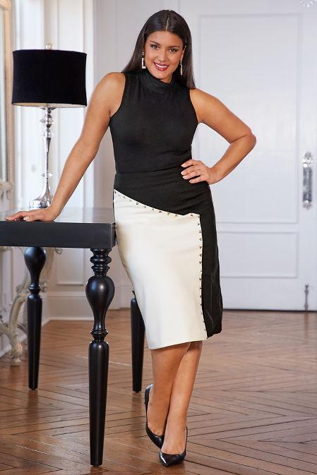 Color block studded ponté skirt image