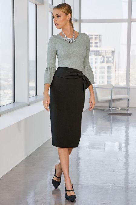 High Waist Sash-Belt Skirt image