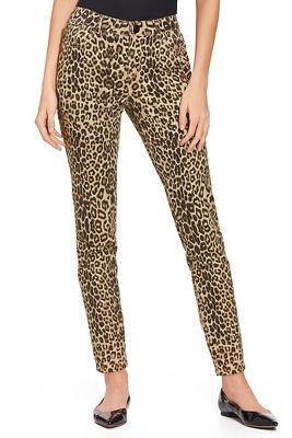 leopard five pocket ankle jean