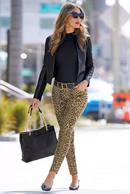 Leopard Five Pocket Ankle Jean image