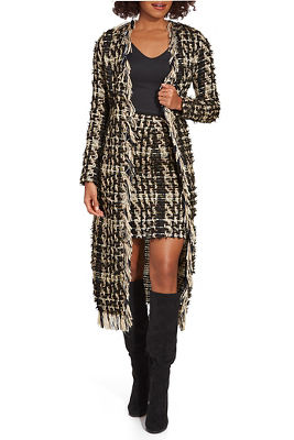 Long Frayed Tweed Duster