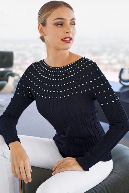 Stud-Trim Sweater image