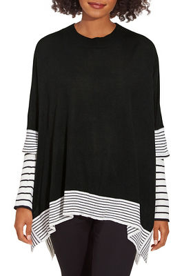 Stripe Print Sleeve Poncho Sweater