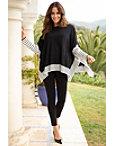 Stripe Print Sleeve Poncho Sweater Photo