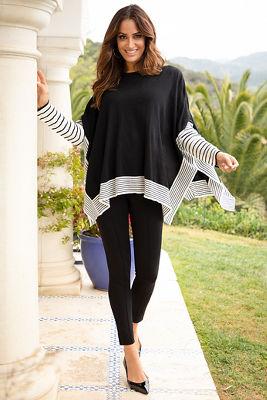 Stripe Print Sleeve Poncho Sweater