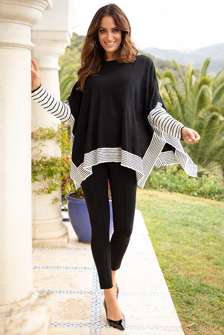 Stripe Print Sleeve Poncho Sweater image