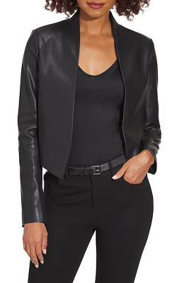 Vegan Leather Open Jacket