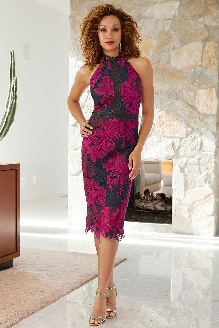 High Neck Lace Midi Dress image