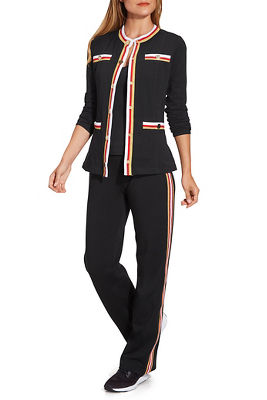 Gold Button Track-Stripe Warm-Up