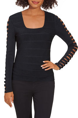 Square Neck Cutout-Sleeve Sweater