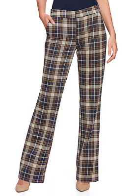 Mid Rise Plaid Trouser Pant