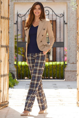 Mid Rise Plaid Trouser Pant